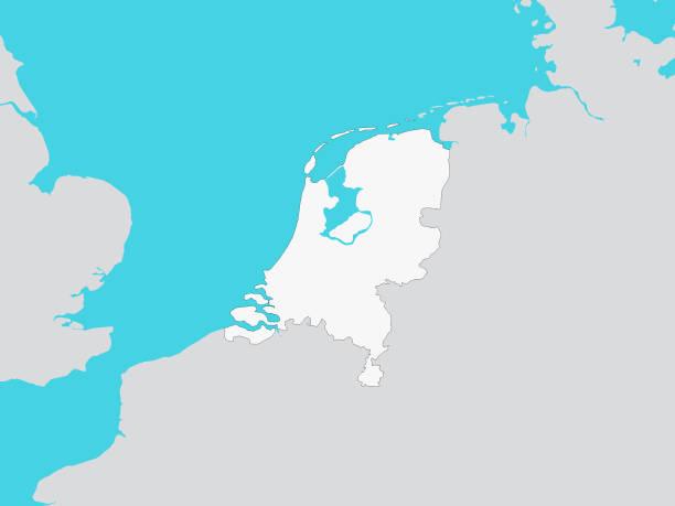 stockillustraties, clipart, cartoons en iconen met witte kaart van nederland met omliggend terrein - eindhoven