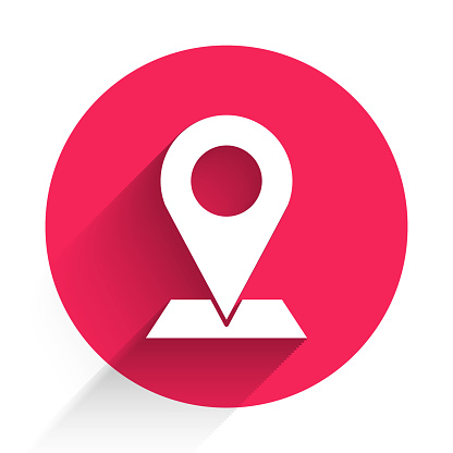 White Map pin icon isolated with long shadow. Navigation, pointer, location, map, gps, direction, place, compass, search concept. Red circle button. Vector Illustration
