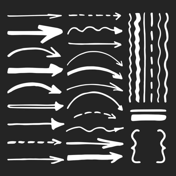 White marker pen written vector arrows and lines vector set vector art illustration