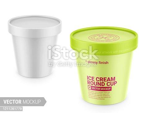 Maqueta de envase de plástico blanco mate. Ilustración vectorial.