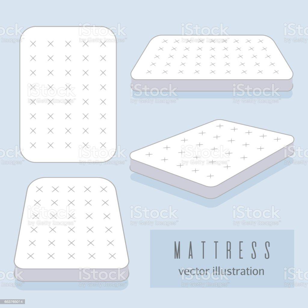 White mattress vector illustration. Motel room sleeping lodge bed vector art illustration