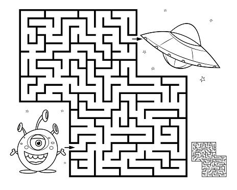 White, Maze game for children, help the alien find right path to the UFO