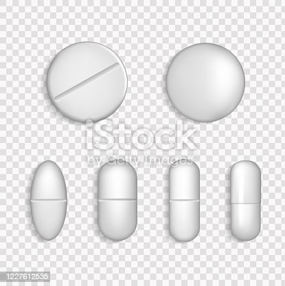 White Medical Pill Icon Set Closeup Isolated on Transparency Grid Background.  3D drugs medicine capsules and vitamins, healthcare pharmacy tablets.