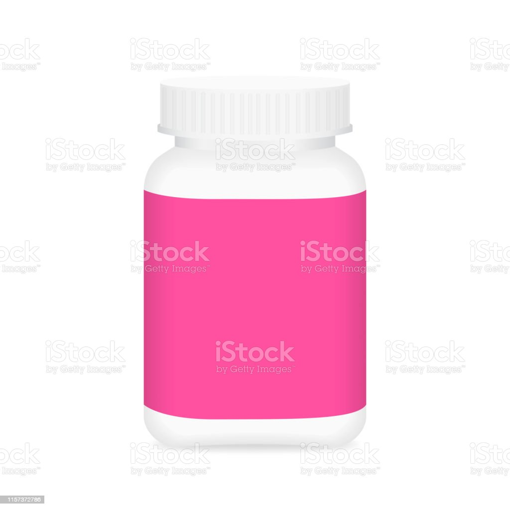 White Medicine Bottle And Pink Label Bottle Plastic White