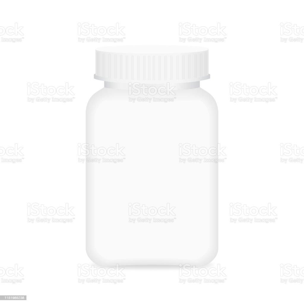 white medicine bottle, bottle plastic white packaging single blank...