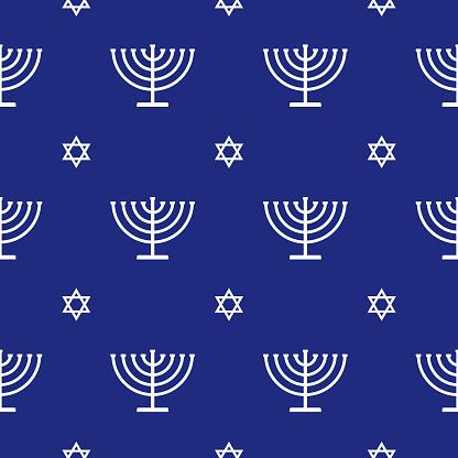 White Menorah Star Of David Seamless Pattern