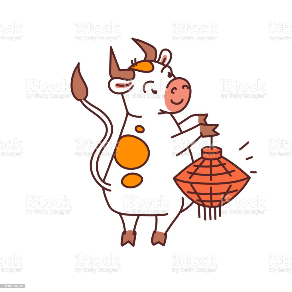 White Metal Bull With Red Lantern Chinese New Year Symbol Or Logo For Kids Stickers Stock Illustration Download Image Now Istock