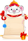 Rat with scroll - symbol of Chinese horoscope. Illustration with a copy-space.