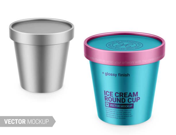 stockillustraties, clipart, cartoons en iconen met witte metaal plastic container mockup. vectorillustratie. - bevroren voedsel