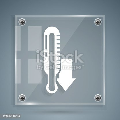 istock White Meteorology thermometer measuring icon isolated on grey background. Thermometer equipment showing hot or cold weather. Square glass panels. Vector Illustration 1250720214