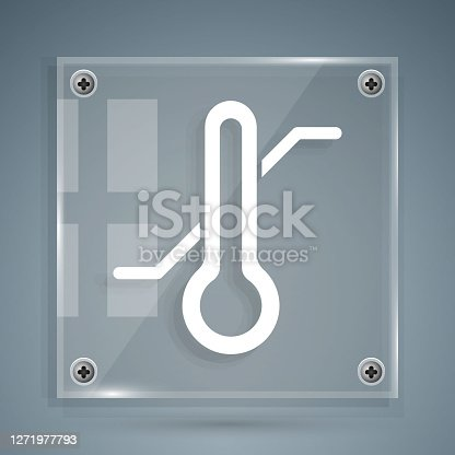 istock White Meteorology thermometer measuring icon isolated on grey background. Thermometer equipment showing hot or cold weather. Square glass panels. Vector 1271977793