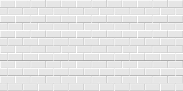 White metro tiles seamless background. Subway brick horizontal pattern for kitchen, bathroom or outdoor architecture vector illustration. Glossy building interior design tiled material.