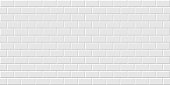 istock White metro tiles seamless background. Subway brick horizontal pattern for kitchen, bathroom or outdoor architecture vector illustration. Glossy building interior design tiled material 1312314989