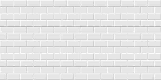 White metro tiles seamless background. Subway brick horizontal pattern for kitchen, bathroom or outdoor architecture vector illustration. Glossy building interior design tiled material White metro tiles seamless background. Subway brick horizontal pattern for kitchen, bathroom or outdoor architecture vector illustration. Glossy building interior design tiled material. underground stock illustrations