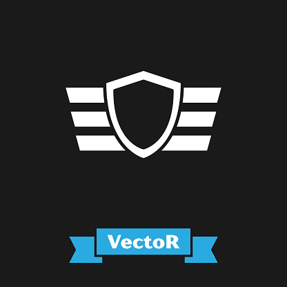 White Military reward medal icon isolated on black background. Army sign.  Vector Illustration