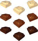 White Milk and Dark Chocolate Cubes Isolated on White Background. Set of Chocolate Chunks in Different Views. Vector Low Poly Realistic Illustration.