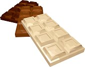Three Bars of Chocolate: White Milk and Dark Isolated on White Background. Vector 3D Realistic Illustration.