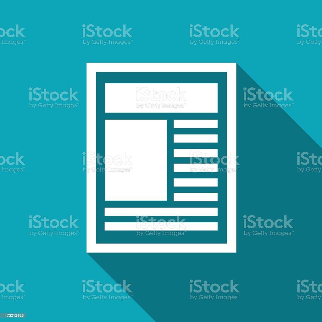 White minimalist newspaper icon vector art illustration