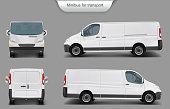 White minivan front, back, side view