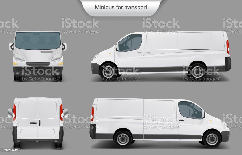 White minivan front, back, side view vector art illustration