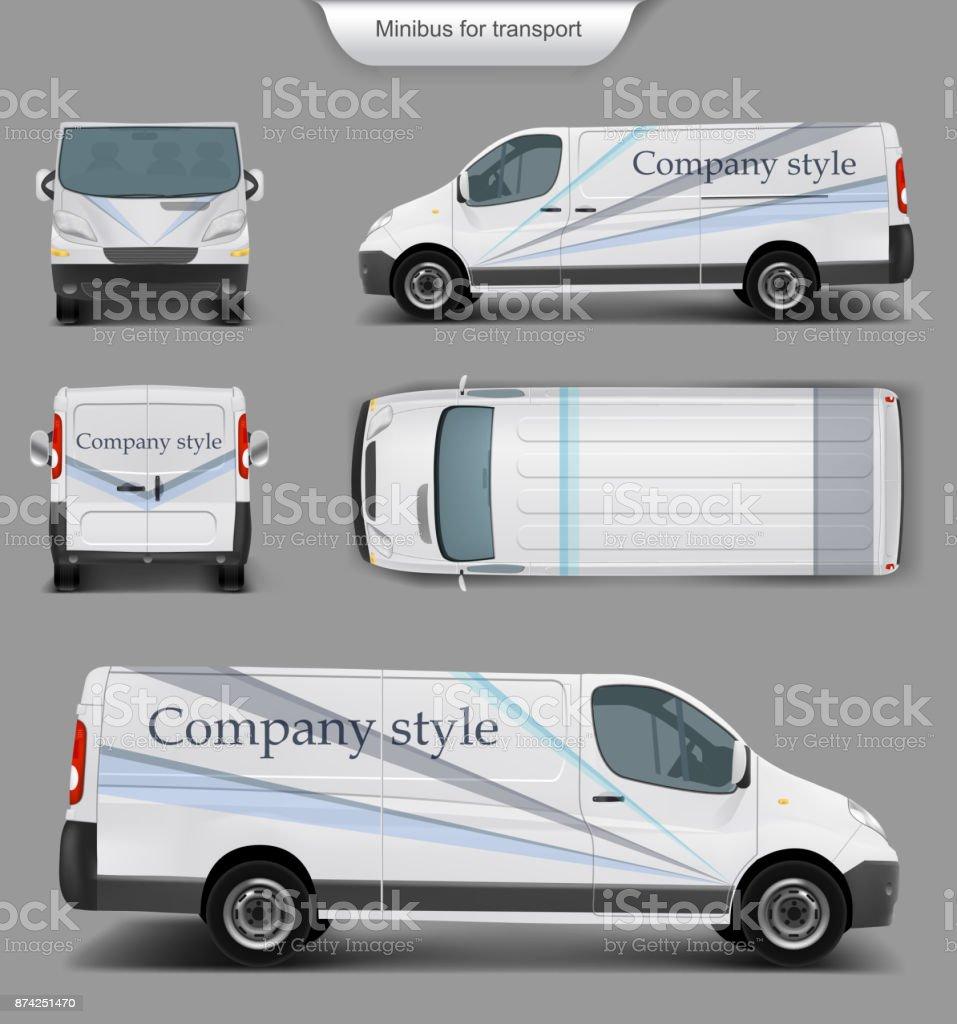 White minivan top. front, back, side view vector art illustration