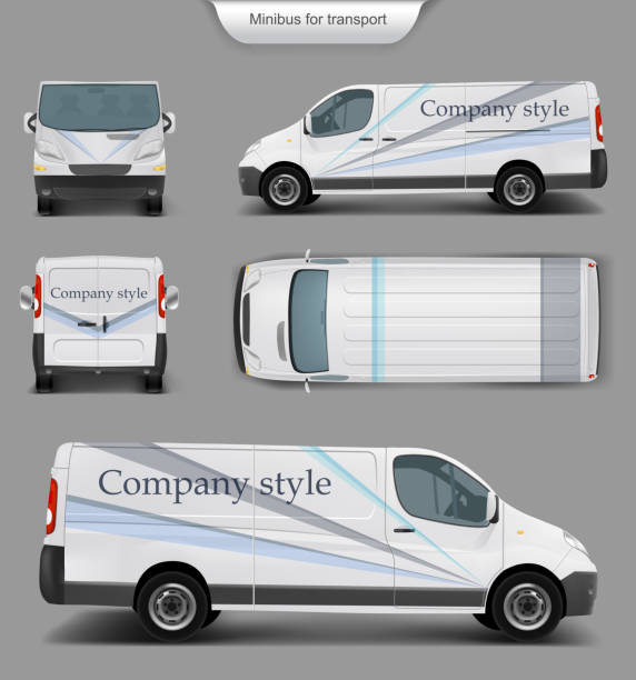White minivan top. front, back, side view Vector realistic white delivery minivan, city minibus with company style top. front, back, side view, with shadow, isolated on gray. Template, mock up of minivan for brand design, corporate transport mini van stock illustrations