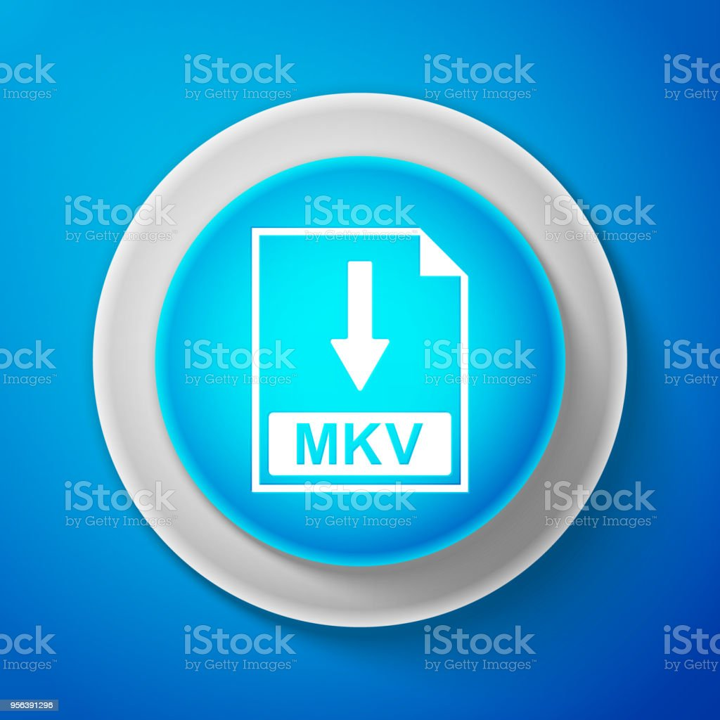 White MKV file document icon isolated on blue background. Download MKV button sign. Circle blue button with white line. Vector Illustration vector art illustration