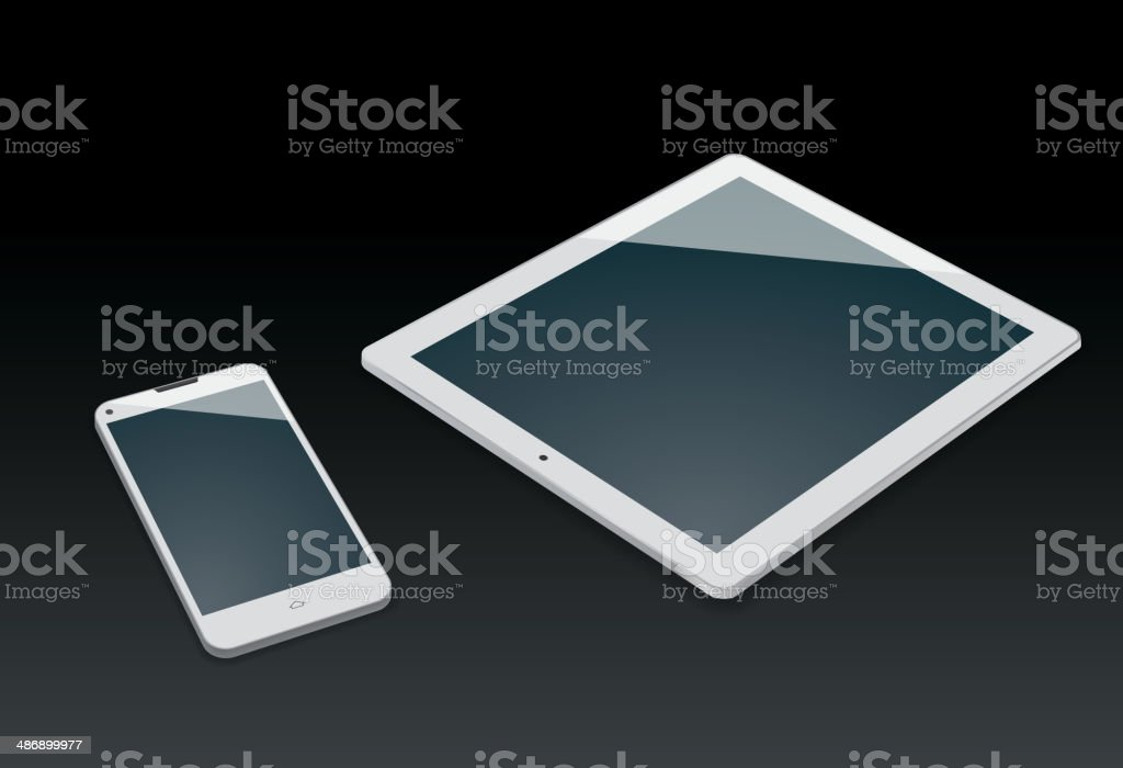 White mobile phone and tablet pc royalty-free stock vector art