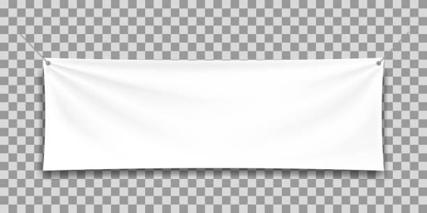 ilustrações de stock, clip art, desenhos animados e ícones de white mock up textile banner. - modelos