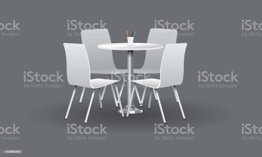 Picture of: White Modern Round Table With Chairs Vector Illustration Stock Illustration Download Image Now Istock