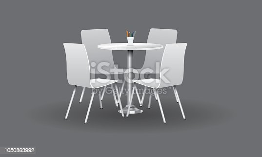 White Modern round table with chairs. High detailed vector illustration.