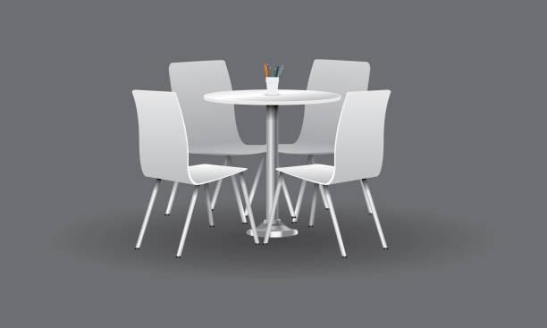 biały nowoczesny okrągły stół z krzesłami. ilustracja wektorowa. - krzesło stock illustrations