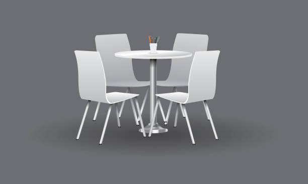 ilustrações de stock, clip art, desenhos animados e ícones de white modern round table with chairs. vector illustration. - table