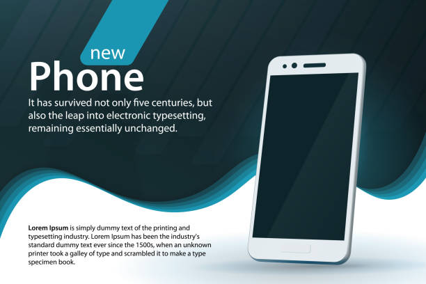 White modern smartphone on a gray background. Sale and discounts banner design. Modern background with a gradient and curved lines. vector art illustration