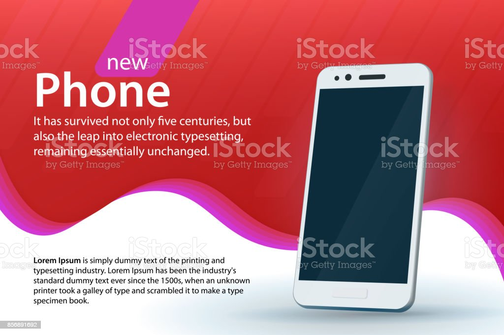 White modern smartphone on a red background. Sale and discounts banner design. Modern background with a gradient and curved colored lines. vector art illustration