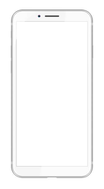 ilustraciones, imágenes clip art, dibujos animados e iconos de stock de blanco smartphone moderno - teléfono inteligente