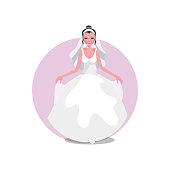 White modern style fluffy wedding dress with veil and diadem on the young bride. Wedding dress concept. Isolated vector icon illustration on white background in cartoon style.