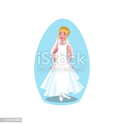 istock White modern style long wedding dress with veil and diadem on the young bride. Vector illustration in a flat cartoon style. 1212315684