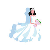 White modern style wedding dress with a long skirt on the young bride with diadem and flowers. Wedding dress concept. Isolated vector icon illustration on white background in cartoon style.