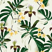 White monstera leaves and exotic orchid, plmeria flowers seamless pattern.