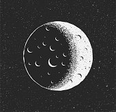 istock White Moon on black starry background. Hand drawn sketch vintage styled vector illustration. 1211777394