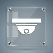 istock White Motion sensor icon isolated on grey background. Square glass panels. Vector Illustration 1253644637