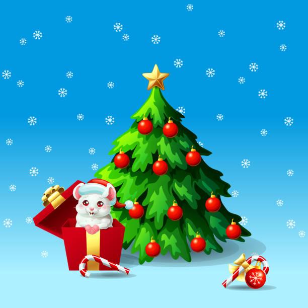 Bекторная иллюстрация White mouse in box ang fir tree on blue