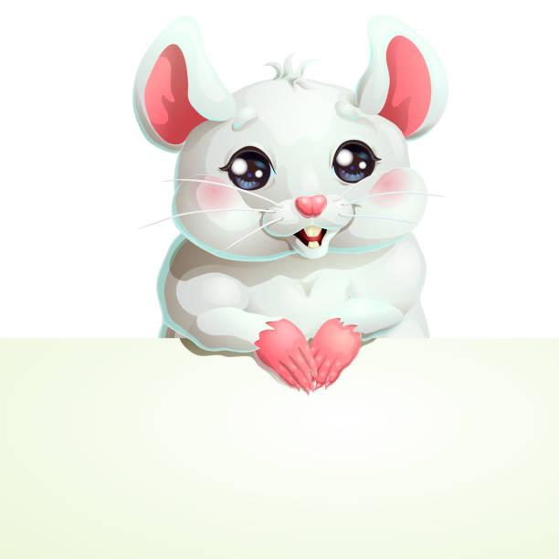 Bекторная иллюстрация White mouse with black eyes and banner