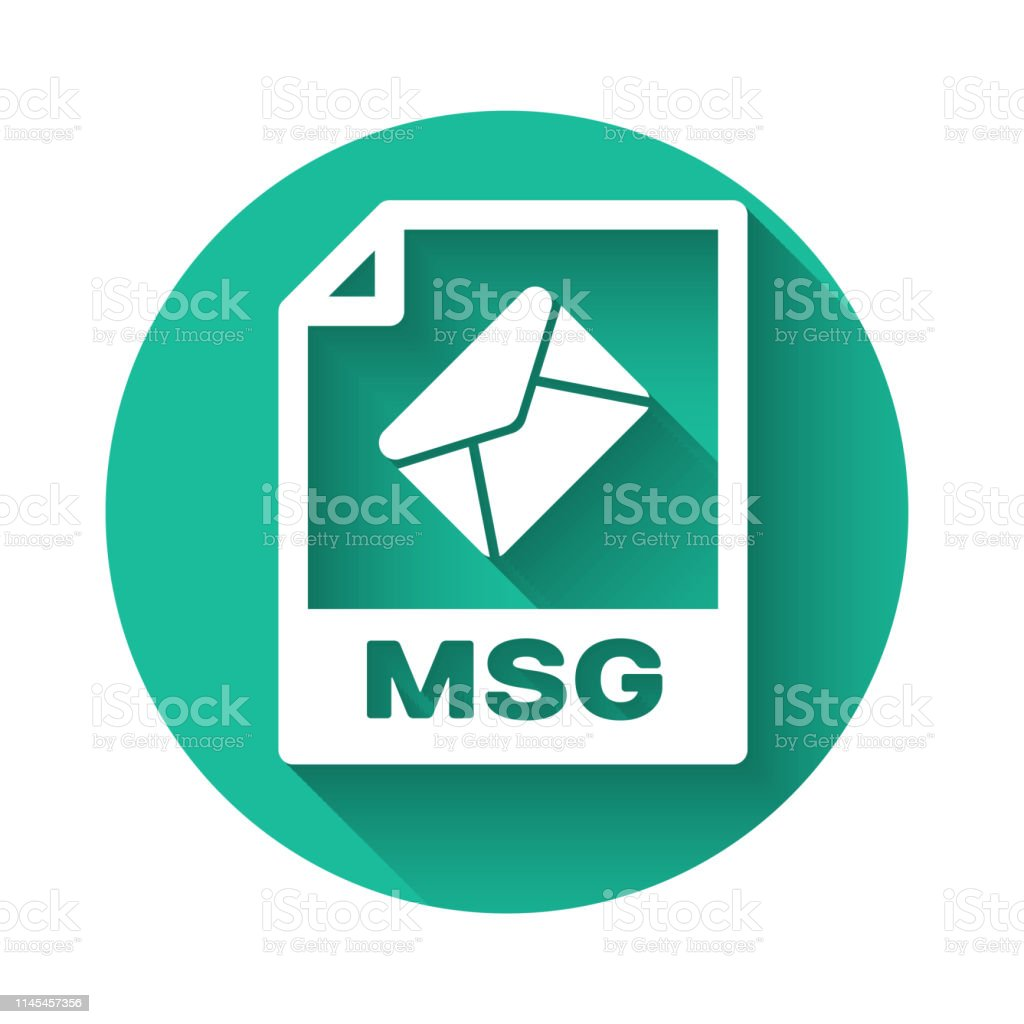 White Msg File Document Icon Download Msg Button Icon Isolated With