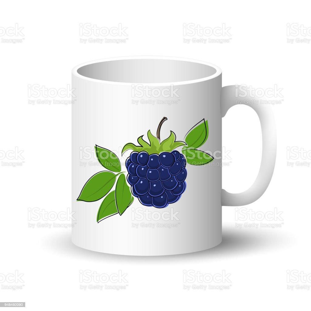White Mug With Blackberry Stock Illustration - Download Image Now