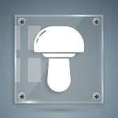 White Mushroom icon isolated on grey background. Square glass panels. Vector Illustration