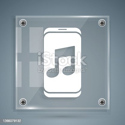 istock White Music player icon isolated on grey background. Portable music device. Square glass panels. Vector Illustration 1266079132