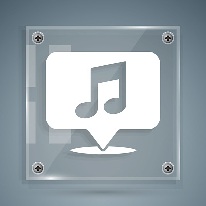 White Musical note in speech bubble icon isolated on grey background. Music and sound concept. Square glass panels. Vector Illustration