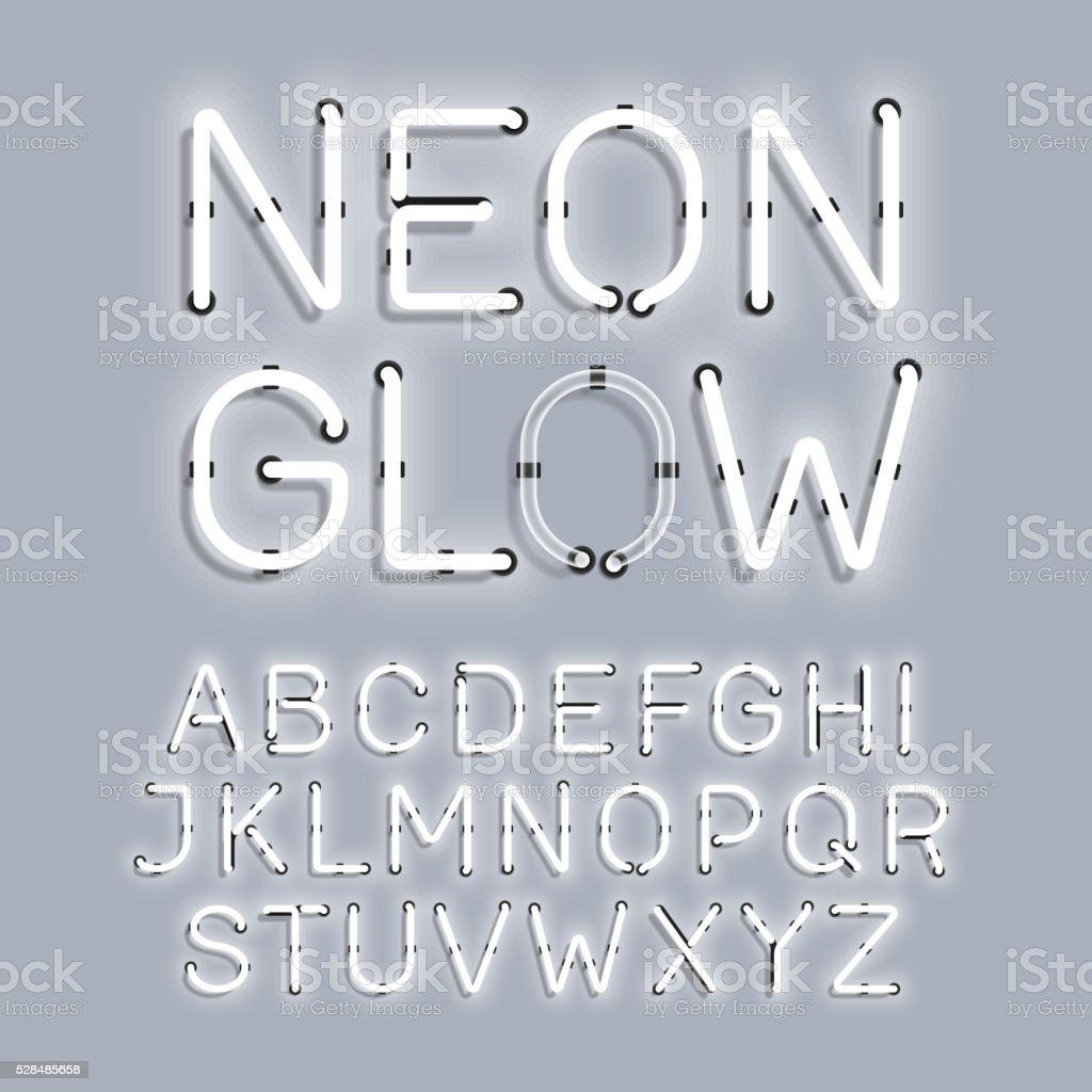 White Neon Glow alphabet vector art illustration
